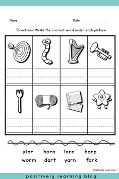 Bossy R Activities - R-Controlled words can be tricky! These worksheets and centers provide practice with /ar/ and /or/. From Positively Learning Blog #phonics #worksheets #centers