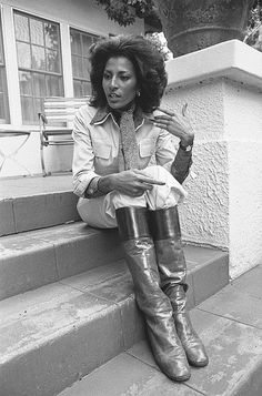 "Foxy Brown is in the House | 1976  Actress Pam Grier (born Pamela Suzette on May 26, 1949) in repose, but still animated, during interview in Los Angeles, CA. 1976. Famous Quote, ""I do a movie once every four years and they call it a comeback."""