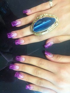 Purple Glitter Nails With Jewel