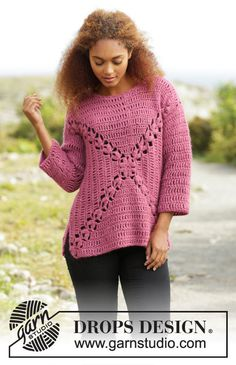 Crochet Autumn Rose Women's 3/4 sleeve Wool and Alpaca
