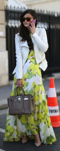 Street style | Floral maxi dress and structured white blazer