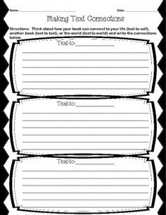 text to text connections worksheets | Name Date_____ Text-to-Text ...