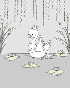 Cisne vivero arteRoyal Swan mamá y bebé por SweetMelodyDesigns