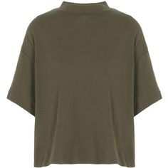 Free People T-shirt ($38) ❤ liked on Polyvore featuring tops, t-shirts, military green, free people t shirts, short sleeve t shirt, turtleneck t shirt, army green t shirt and free people tops