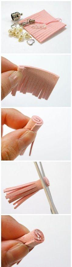 El paso a paso para la elaboración de borlas decorativas: Muestra de materiales + Pasos del 1 al 4