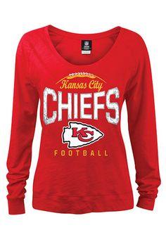 Kansas City Chiefs Ladies Draft Me V Shimmer Top - Red   Kansas ...