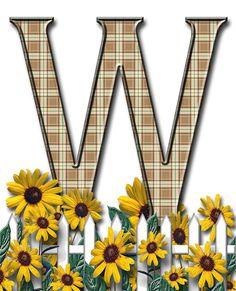 Letra con verja floral.....W