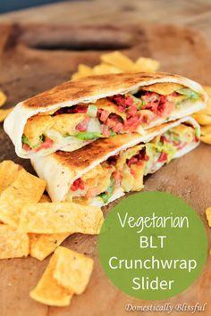Vegetarian BLT Crunchwrap Slider with homemade Creamy Ranch Avocado Sauce                             http://domesticallyblissful.com/vegetarian-blt-crunchwrap-slider/                                                 #vegetarian #blt #crunchwrap #tacobell