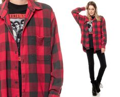 70c7ed3df777b8 Buffalo Plaid shirt 90s FLANNEL Grunge Red Long Sleeve Button Up Black 1990s  Lumberjack Vintage Hipster Checkered Extra Small Medium Large