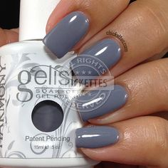 Gelish Clean Slate an opaque medium grey, bluish-grey cream