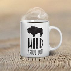 Buffalo Wild About You Valentines Day Mugs, Funny Valentine's Day Mug, Beast Mugs, Romantic Gift Ideas, Buffalo Gift Ideas, Gifts for Him