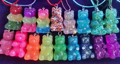 BIg Gummy Bear Resin Necklace or Keychain from HavasuGifts on Etsy. Saved to Things I want as gifts. Resin Charms, Polymer Clay Charms, Diy Resin Crafts, Diy Craft Projects, Resin Necklace, Resin Jewelry, Bottle Jewelry, Earrings, Biscuit