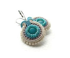 Aqua soutache earrings beige blue pink by soStudio on Etsy
