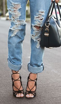 Dressed up ripped jeans