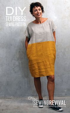The Tui Dress sewing pattern in contrasting linen. Simple, versatile & easy to sew. Optional side pockets. A crowd favourite for spring and summer. #dresspattern #sewingpatterns #diyfashion
