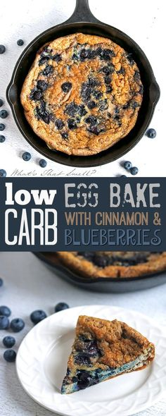 Low Carb Egg Strata with Blueberries and Cinnamon - Gluten-free, paleo, LCHF this baked egg dish is slightly sweet thanks to the blueberries and while it seems like a weird combination, it really is very tasty! #lowcarb #keto #breakfast