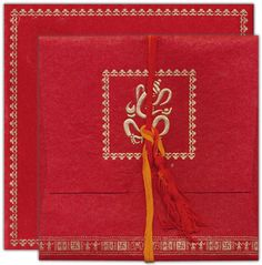 HINDU WEDDING INVITATION CARDS......Specially designed this card for wedding invitation...100% customizable in terms of text and border..Red color silk handmade paper for jacket style folding card and mailing envelope. 2 inserts in Jute mottled beige colored handmade paper....  You can buy this @-> http://www.indianweddingcard.com/D-3616.html