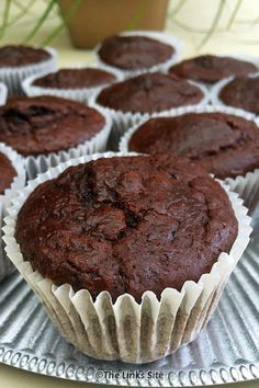 These Sour Cream Double Chocolate Muffins can be mixed up and in the oven in min. These Sour Cream Double Chocolate Muffins can be mixed up and in the oven in minutes, and the resul Muffin Recipes, Cupcake Recipes, Baking Recipes, Cupcake Cakes, Dessert Recipes, Cupcakes, Breakfast Recipes, Brunch Recipes, Breakfast Ideas