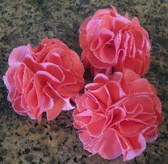 DIY coral fabric flower barrette flower girl hairbows