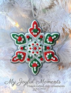 Handcrafted Polymer Clay Ornament by Kay Miller. Polymer Clay Kunst, Polymer Clay Projects, Polymer Clay Creations, Handmade Polymer Clay, Clay Crafts, Polymer Clay Ornaments, Polymer Clay Flowers, Polymer Clay Charms, Polymer Clay Jewelry