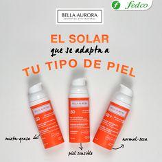 ¡Escoge el solar que se adapte mejor a tu piel! Calmará tu cutis en la exposición solar y reducirás la inflamación, previniendo las molestas manchas en tu piel. Solar, Convenience Store, Shampoo, Personal Care, Bottle, Fat, Maquiagem, Personal Hygiene, Flask