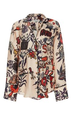 Tomoe Silk Printed Shirt by SANDRA MANSOUR for Preorder on Moda Operandi