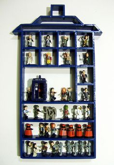 I would do this with regular shelfs with Lego sets.... And my Doctor Who ones....