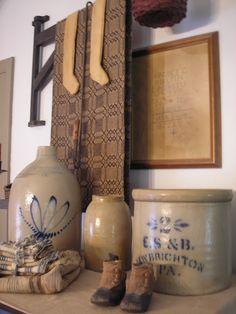 Antique Stoneware and Brown Coverlet Antique Crocks, Old Crocks, Antique Stoneware, Stoneware Crocks, Primitive Kitchen, Primitive Antiques, Country Primitive, Primitive Decor, Primitive Homes