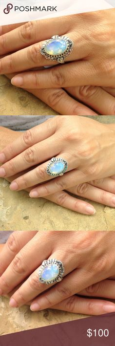 925 sterling silver opalite bohemian ring Gorgeous rainbow opalite in a very detailed bohemian gypsy solid sterling silver setting. Jewelry Rings