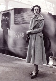 1949 - fashion for travel - london late 40s to early 50s coat long jacket scarf princess vintage fashion style shoes hat purse train