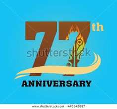 Anniversary logo with javanese shadow puppet pattern 77th