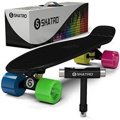 Skatro - Mini Cruiser Skateboard. 22x6inch Retro Style Plastic board Comes Complete. Model: Black Rainbow Skatro http://www.amazon.com/dp/B00K93QY8K/ref=cm_sw_r_pi_dp_MzEHwb09XYXC0