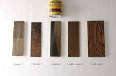 Home - Kitchen & Bath How 6 Different Stains Look On 5 Popular Types of Wood - Chris Loves Julia Car Best Wood Stain, Oak Wood Stain, Red Oak Stain, Red Oak Floors, Stain On Pine, Staining Pine Wood, Hardwood Floors, White Stain, Minwax Stain Colors