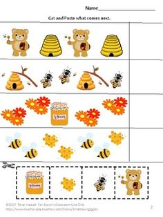 Bears Love Honey Cut and Paste Activities, Special Education, Summer School - Bears. Cut and Paste Activities, Summer Special Education, - Letter Matching, Shape Matching, Number Matching, Matching Colors, Cut And Paste Worksheets, Free Worksheets, Preschool Learning Activities, Child Love, Summer School