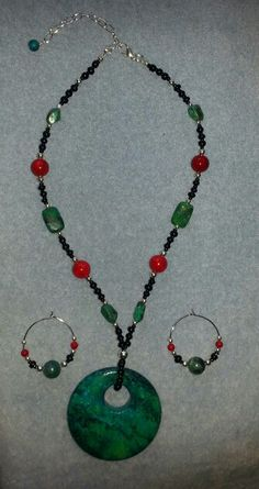 New Turquoise & Red Jade Necklace set!