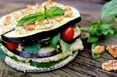Fully #Raw Eggplant Pesto Lasagna