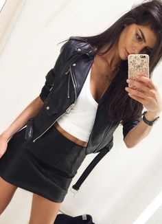 #fall #style  Leather Jacket // Crop Top // Leather Skirt