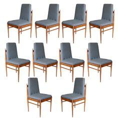 Set of Ten 60's Caviuna Chairs by L'Atelier