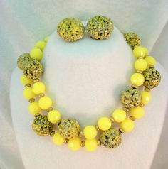 Yellow Beaded Necklace and Earrings Set  by TwoDogVintage on Etsy, $20.00