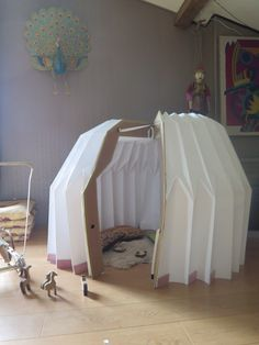 folding playhouse from recycled materials