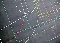 Full Frame Shot Of Multi Colored Markings On Asphalt