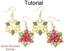 Beaded Poinsettia Christmas Holiday Earrings with DiamonDuo Two Hole Beads Jewelry Making Pattern Tutorial by Simple Bead Patterns | Simple Bead Patterns