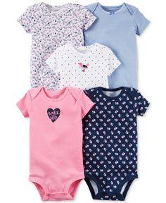 Carter's Baby Girls' 5-Pack Short-Sleeve Bodysuits