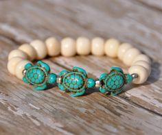 Ivory Bone with Turquoise Sea Turtles Bracelet