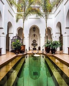 A courtyard is considered a place which can either be a retreat, a royal garden or a sanctuary. An individual should create a difference and enhance the beauty of his courtyard garden so that it becomes attractive and leaves a… Continue Reading → Courtyard Landscaping, Modern Courtyard, Courtyard Ideas, Landscaping Ideas, Courtyard Pool, Exterior Design, Home Interior Design, Interior And Exterior, Riad Marrakech