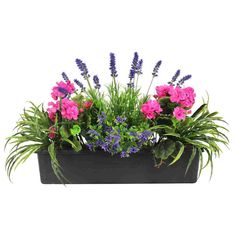 Mixed Flower Window Box | Artificial Mixed Flower Trough | from £41.99 inc VAT - Blooming Artificial