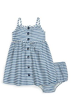 Ralph Lauren Stripe Button Front Cotton Dress & Bloomers (Baby Girls) available at #Nordstrom