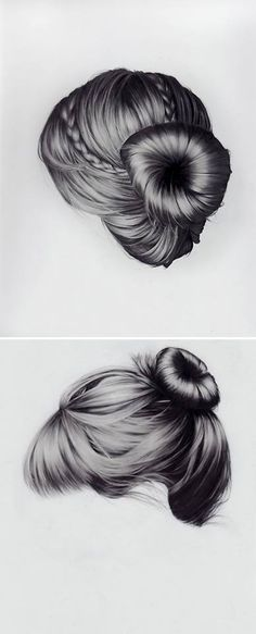 I cant even make my real hair look like this, let alone draw hair that looks like this! Upswept, long n flowing, twists & braids. these gorgeous hair studies are mixed media drawings on canvas by New York based artist Brittany Schall. Drawing Hair, Painting & Drawing, Realistic Hair Drawing, How To Draw Hair, Art Design, Design Ideas, Gorgeous Hair, Art Techniques, Love Art