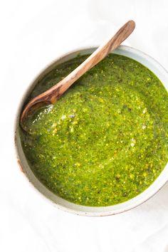 A 5-Minute Basil Pistachio Pesto a.k.a. magical green sauce that tastes as if…