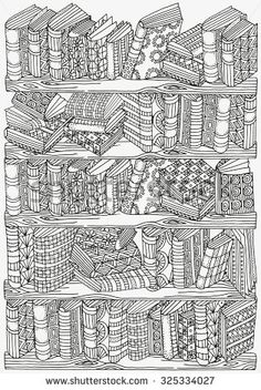 Pattern for coloring book. A4 size. Artistically books, bookshelf,  hand-drawn decorative elements in vector. Black and white pattern.  Made by trace from sketch. Zentangle.